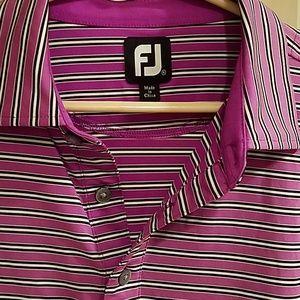 FJ FootJoy XL Golf Polo Purple Striped